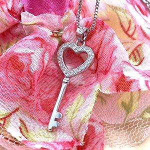 Sterling Silver 925 CZ Heart Key